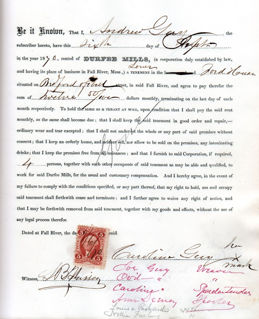 "Tenement lease agreement between Durfee Mills, Fall River, Massachusetts, and Andrew Guy, September 6, 1870. Tenement Lease Book, Durfee Mills, ""31st August 1868 to 23rd August 1871 inclusive."""