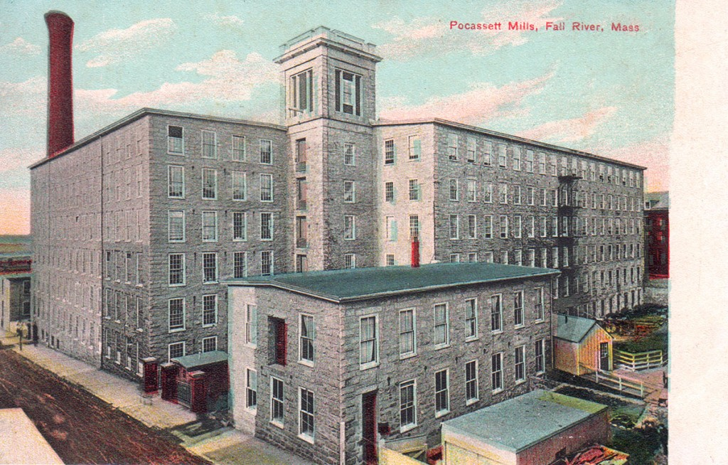 Postcard, Pocasset Manufacturing Company (1821-1926), Fall River, Massachusetts, Mill #1, constructed 1847, destroyed by fire, February 2, 1928. Litho-Chrome Company, Lepzig and Berlin, Germany, published by The Rhode Island News Company, Providence, Rhode Island, circa 1910.