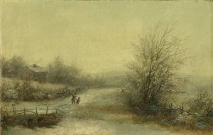 A Walk Through Winter Snow by Robert Spear Dunning (1829-1905), Fall River, Massachusetts, circa last quarter 19th century. This painting was offered by an on-line auction house in 2015, and was acquired by the FRHS for its collection of Paintings, Drawings, and Sculpture – 19th century. The purchase was made possible by donors to the Acquisition Fund.