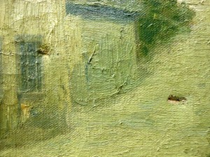 Detail showing the punctures in the canvas.
