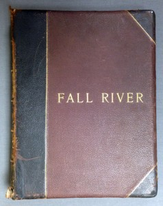 "Fall River Illustrated, H. R. Page & Company, Chicago, Illinois, 1891; a deluxe edition donated to the FRHS in 1940, shown before conservation. The leather-bound volume exhibited overall dryness, scuffing, and small areas of powdery deterioration known as ""red rot."""